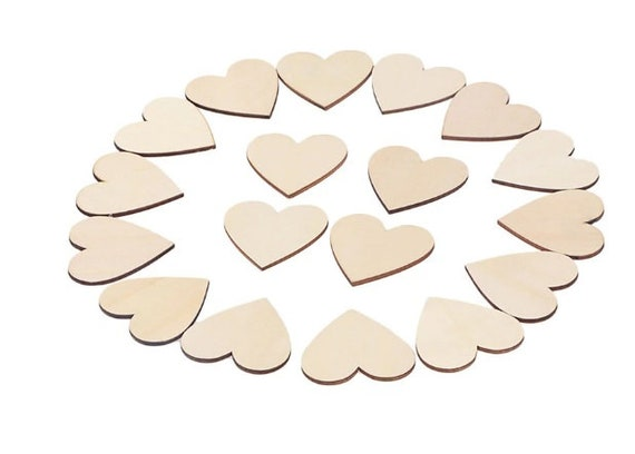 Blank Embellishments Craft 50mm x 50mm 20x Wooden heart shapes Laser Cut MDF