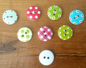 15mm Wooden Buttons, Polkadot Buttons, Shabby Chic Buttons, Spotty Buttons, Tartan Buttons, Plaid Buttons, 15mm Buttons,