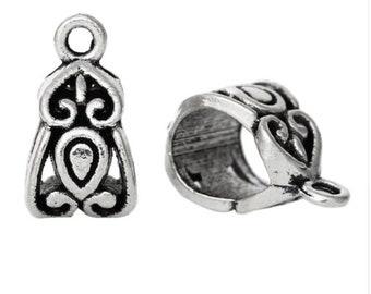 Antique Silver Bails, Spacer Bails, Bail Bead, Tube Bead, 14x8mm, Fit European Bracelet, Jewellery Bail, SIlver Jewellery Bail, Bails,
