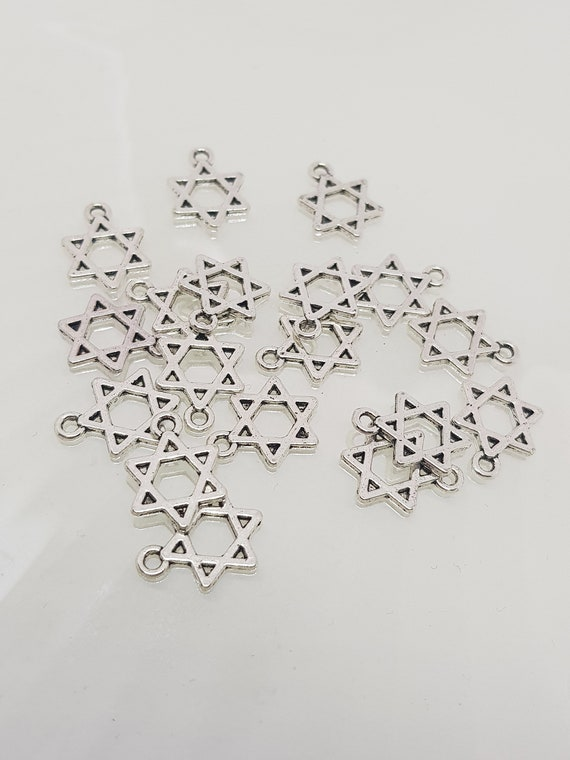 6 New Charms Tibetan Silver Star Flower Pendants DIY 20x25mm