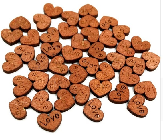 Personalised Engraved Wooden Mini Heart Wedding Confetti Table Favours 5mm Oak