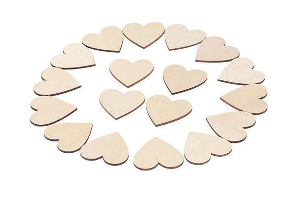 LASER CUT MDF WOODEN  SHAPE 7cm HEARTS x 20