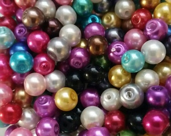 6mm Pearl Beads, Mixed Pearl Beads, 6mm Mixed, 6mm Beads, 6mm Mixed Glass Beads, Pearl Beads, 6mm Glass Beads,Mixed Pearls, Mixed Beads,