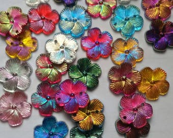 Sew On Flower, Flower Embellishments, Flower Applique, 15mm Flowers, Flower Decoden, AB, Sew On, Flower Buttons, AB Buttons, Resin Buttons,