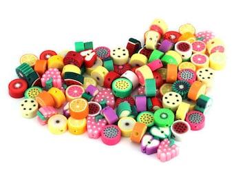Fruit Beads, Fruit Slices, Fimo  Fruit, Polymer Beads, Clay Beads, 10mm Beads, Fruit Jewellery, Fruit Jewelry,