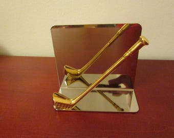 sports office decor. Golf Letter Holder Napkin Office Sports Decor Gold Plated Brass Golfing Lover Made In O
