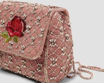 f0b8d59439 New Pink velvet beaded embroidered handbag crossbody Zara bag with chain