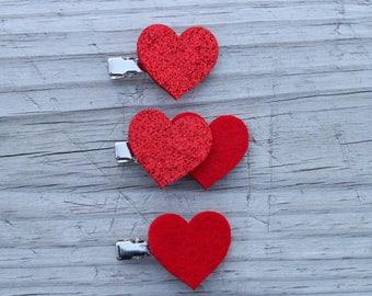 felt heart hair clip