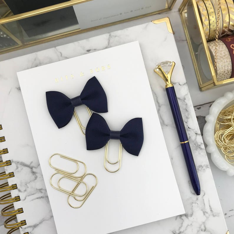 Mini Navy Blue Ribbon Bow on a Mini Wide Gold Paperclip