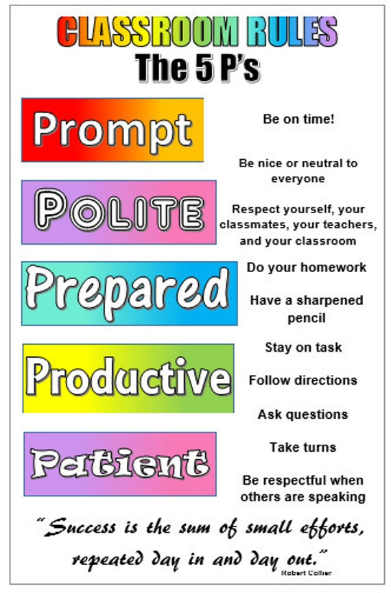 Classroom Rule The 5 P S Poster Etsy