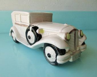 Enesco Japan Vintage Car Planter Kitsch Decor Antique Green Car Mid Century Modern Planter