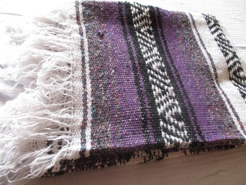 4x6/' Purple n Charcoal Gray Mexican Woven Blanket Yoga Throw Lightweight Falsa Saltillo Molina Indian or Yoga Throw Bojo Weaving SHIPS FREE