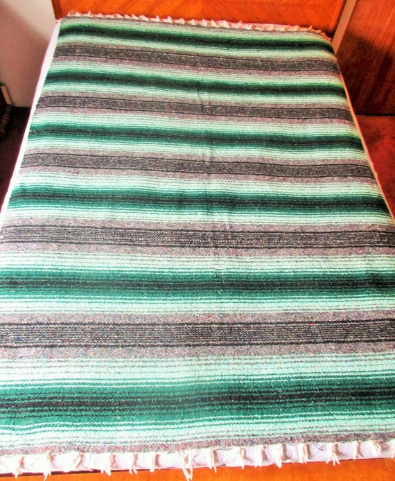 Authentic 6 x 5 Mexican Siesta Blanket Forest Green