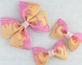 school girl nylon band fabric bow Sprinkles clup sailor bow birthday bow sprinkle print