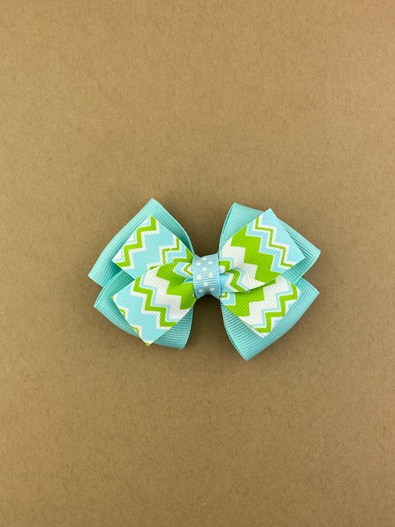 Teal Chevron Bow Chevron Hair Clip Girls Hair Clip Green Bow Chevron Bow Teal Hair Clip Teal Hair Bow Teal Hair Bow Chevron Hair Bow