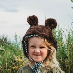 Bear Costume - Bear Bonnet - Halloween Bear Costume - Fur Bear Bonnet - Newborn Bear Hat - Animal Bonnet