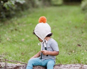ab956519848 Flannel Bonnet - Winter Pom Hat - Pom Hat - Kid s Winter Hat - Flannel Hat  - Girl Winter Hat - Wool Pom Hat - Pom Pom Bonnet - White Bonnet