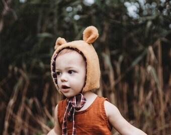 dc26df9ef81 Honey Bear Bonnet - Baby Bear Hat - Bear Costume - Bear Bonnet for Baby -  Bonnet - Winter Bonnet - Boys Winter Hat - Animal Bonnet