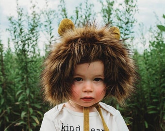 9f9e0edec Lion Costume - Faux Fur Lion Bonnet - Lion Halloween Costume - Faux Fur  Bonnet - Winter Lion Hat - Animal Bonnet - Toddler Lion Costume