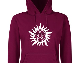 Burgundy hooded Supernatural, woman, trap has demons, winchesters, castiel, Sam and Dean, anti possession