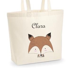 C34 Tote Bag Petit Panda et /étoiles /à personnaliser sac shopping tote bag personnalis/é sac de course sac renard /à personnaliser sac personnalis/é