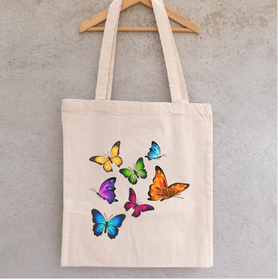 tote bag envol de papillons sac shopping sac etsy. Black Bedroom Furniture Sets. Home Design Ideas