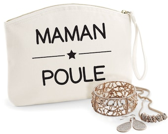 Mama Bear purse, Organic coton, available in 2 sizes, toilet bag, first name, gift mum, mothers day, jewelry box, bag, purse