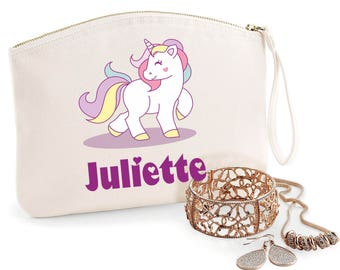 Unicorn purse, Organic coton, available in 2 sizes, toilet bag, first name, gift mum, mothers day, jewelry box, bag, purse