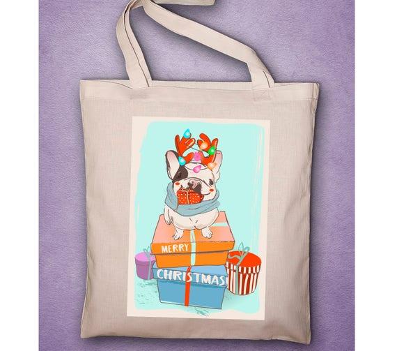 "Tote Bag coton BIO ou pochon ""Bouledogue de noël"" bouledogue français, bouli, chien, bouledogue, petite fille, boubou"