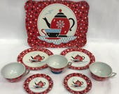 8 Piece Vintage Ohio Art Tin Litho Child 39 s Tea Set - Confetti Design
