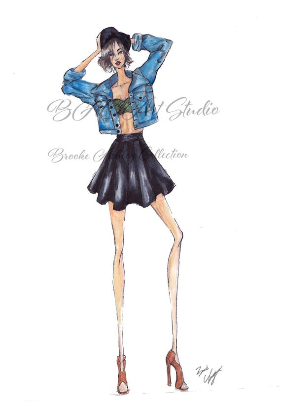 Fashion Illustration Print Jean Jacket Marker Etsy