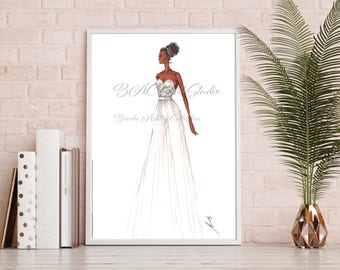 "Fashion Illustration, Print. ""Bridal."" Marker, Fashion Art. Wall Art."