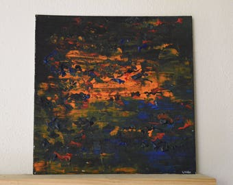 Abstract painting small format Art 25x25cm