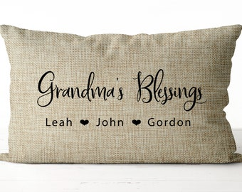 year of birth with print grandma since year of year personalized pillowcase 40 x 40 cm pillow white children/'s name on granny satined