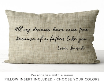 Custom Fathers Day Gift Idea Father Pillow Personalized For Dad 50th Birthday Gifts Him Burlap