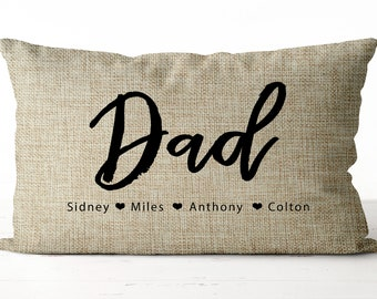 93693308 Dad pillow | Childrens names with hearts pillow | personalized Dad gift | Father's  day gift | Father's Day Pillow | Dad gift | Father gift