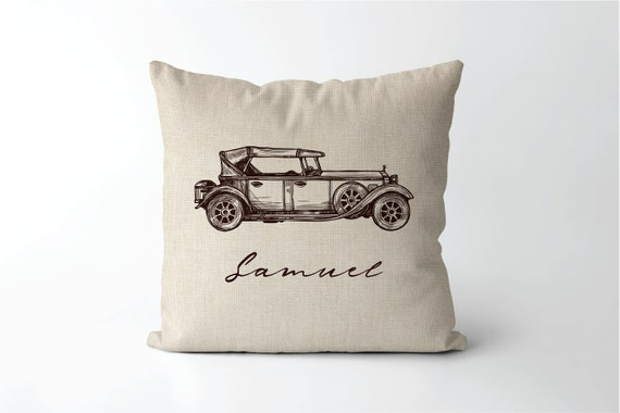 classic car gift mechanic decor Personalized Vintage Car Family Name Established Pillow Anniversary Auto Pillow car collector