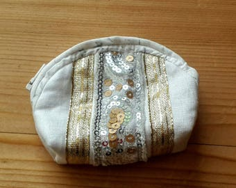 Small coin purse in linen and glitter