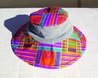 silver glitter kente bucket hat with silver stretch material - long brim 9285538e28f