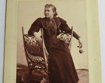 Woman Holding a Rose Antique Cabinet Card Ornate Wicker Chair