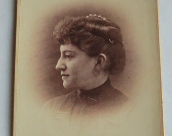 Antique Cabinet Card Woman Side Profile Pearl Hair Adornment Decatur, Illinois
