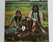 Native American Arapaho Family Printed Postcard ca 1910