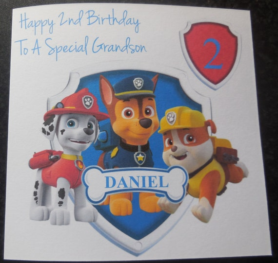 Personalised Paw Patrol card,1st 2nd 3rd 4th birthday Any Age//Name.Son//Grandson