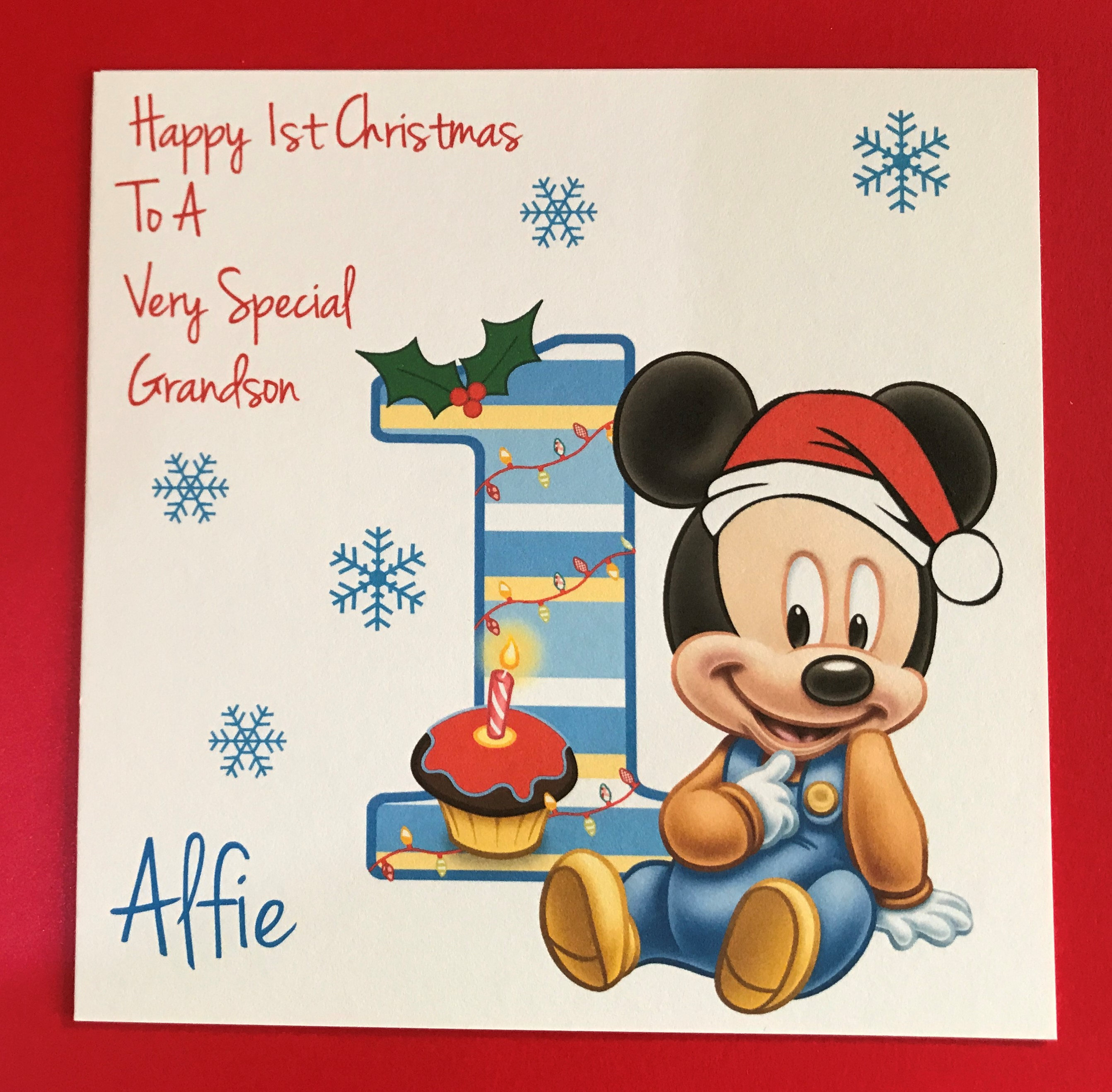 Baby\'s 1st First Christmas Card Mickey Mouse Son | Etsy