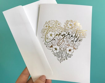Congrats Floral Heart Card 5x7 - Blank Inside with Envelope