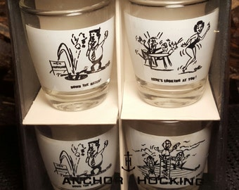 Anchor Hocking Shot Glass Set Vintage Barware Old Comic 4-Piece Liquor Drinkware New in Box