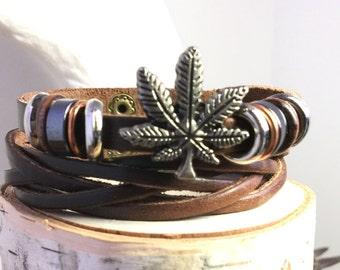 Leather Woven Weed Bracelet, Cannabis Bracelet, Pot Bracelet