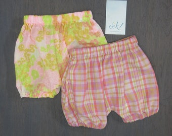 Baby bloomers, set of 2, cotton, vintage and reclaimed fabric in pink floral and pink madras plaid, size 6 months