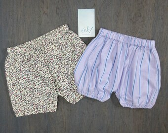 Bloomers, set of 2, for baby made from reclaimed cotton in purples and blues, size 6 months