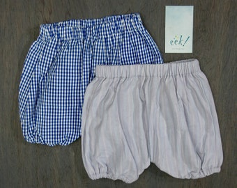 Baby bloomers, set of 2, reclaimed cotton in blue gingham and light purple, size 12 months
